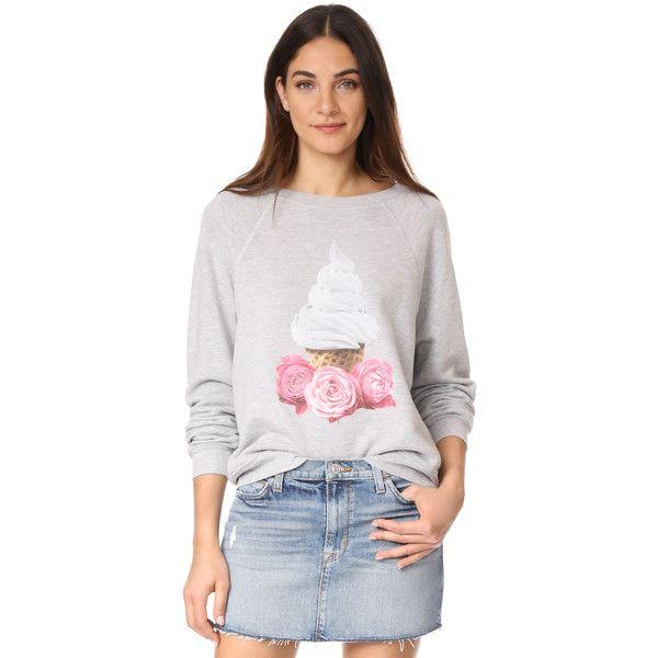 Wildfox Soft Serve Shrine Sweatshirt (4,900 INR) ❤ liked on Polyvore featuring tops, hoodies, sweatshirts, slouchy long sleeve top, graphic sweatshirt, white sweatshirt, white top and wildfox