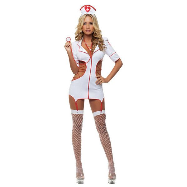 White Cut Out Sexy Nurse Costume ($21) ❤ liked on Polyvore featuring costumes, white, white costumes, nurse costume, white nurse costume, sexy nurse costume and sexy costumes