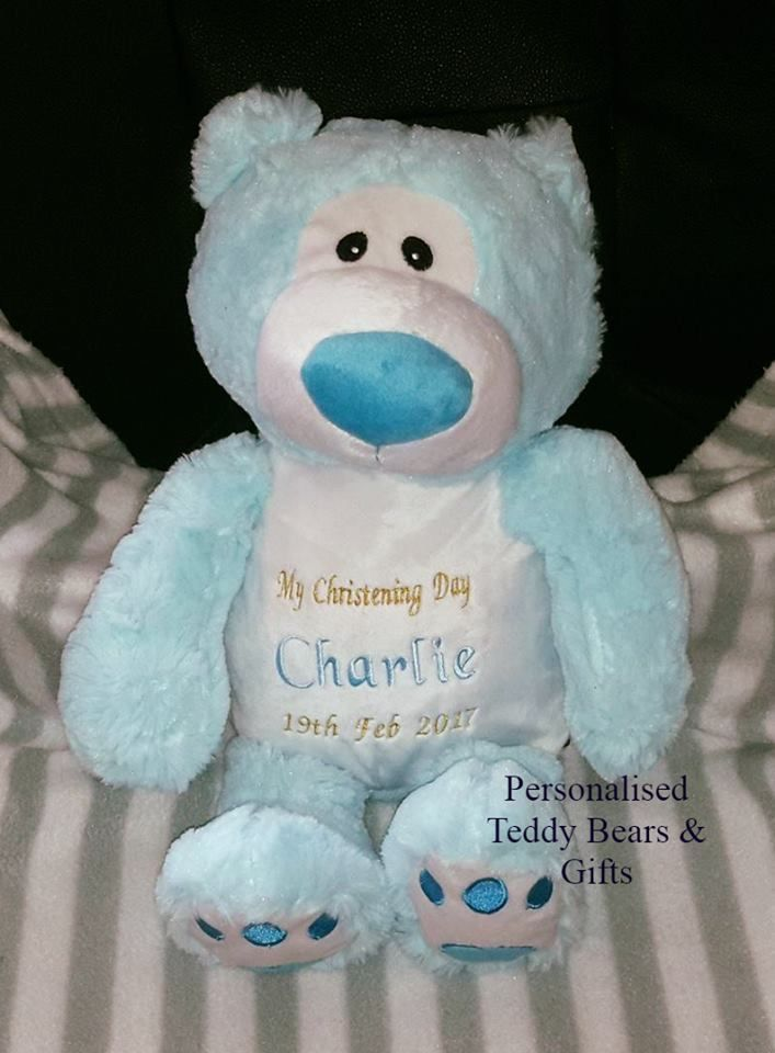 Blue Snugabudz Bear This one has been designed for a christening.  http://teddybearsandgifts.com.au/seasonal-special-occassions/christening-baptism/