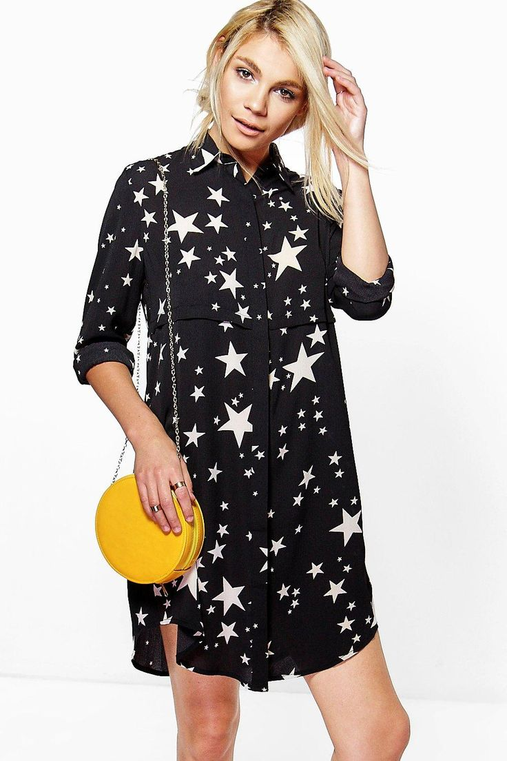 Bowie Star Print Shirt Dress at boohoo.com
