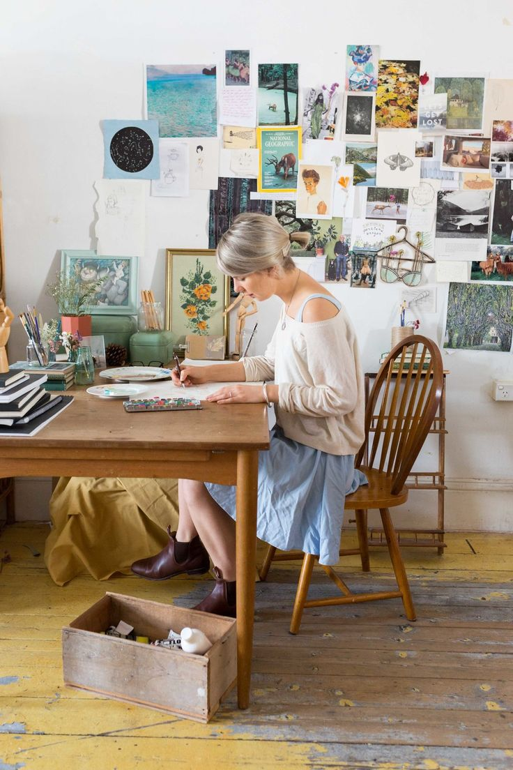 Marianna Marx, Australian Illustrator, works in her rented studio above Brunswick Street, Fitzroy.