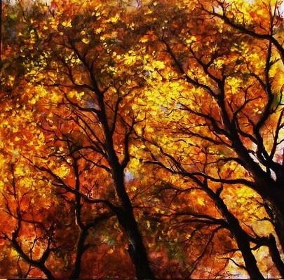 """""""Treetops I"""" - Janet Sweet 20 x 20 acrylic"""