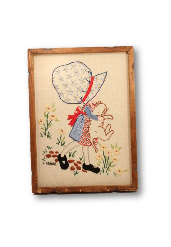Embroidered Picture Holly Hobbie Picture Hand by ClockworkRummage, $14.00