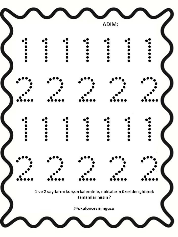 1 Ve 2 Sayisi Tamamlama Matematik Ogrenme Anaokulu Matematigi