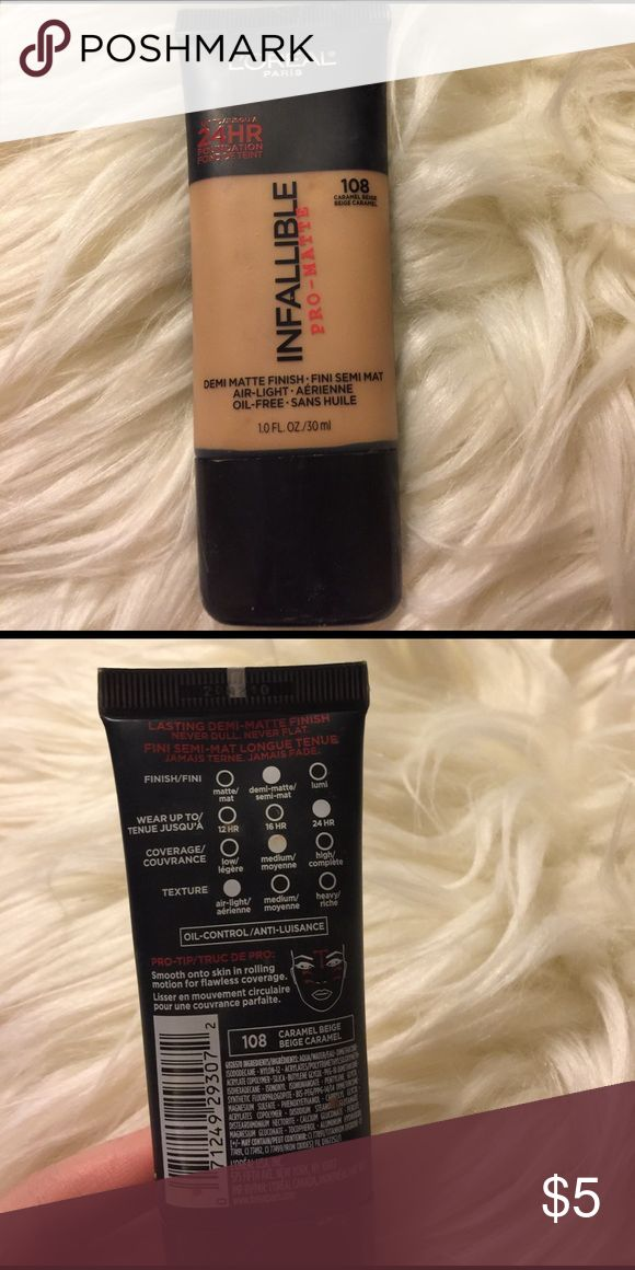 Loreal pro matte infallible 108 caramel beige Used 2 times!! Was not my color. 108 caramel beige. L'Oreal Makeup Foundation
