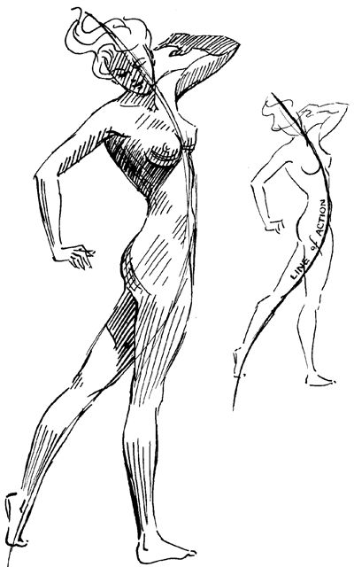 10-better-figure-drawing - Draw in the line of action first, then fill in the contour lines of the figure around it.