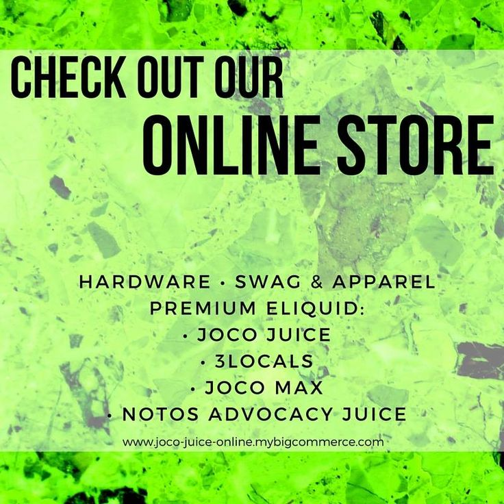 Doing some Saturday shopping? Check out our online store for hardware, swag, apparel, and the following premium eliquids:  • JoCo Juice  • 3Locals  • JoCo MAX  • Notos Advocacy Juice    http://www.joco-juice-online.mybigcommerce.com/    (And subscribe to our newsletter for vape deals!)    #AvailableOnline #SaturdayShopping #JoCoJuice #LOCO4JoCo #3Locals #CarolinaVapers #SouthernOHM #VapeLyfe #Vaping #CloudChaser #VapingSavedMyLife #VapingIsTheFuture #EastCoastVapers #Vapor #VapeCommunity…