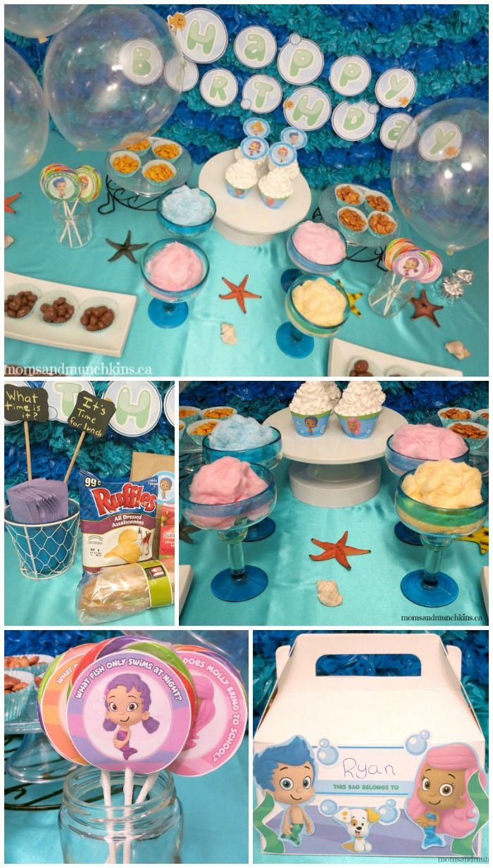 Bubble Guppies Birthday Party Ideas - link to free Bubble Guppies printable party supplies #BubbleGuppies #KidsParties