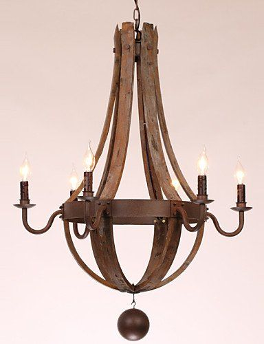 Scandinavian Chandelier 6 lights Vintage Retro Country Living Dining Kitchen…
