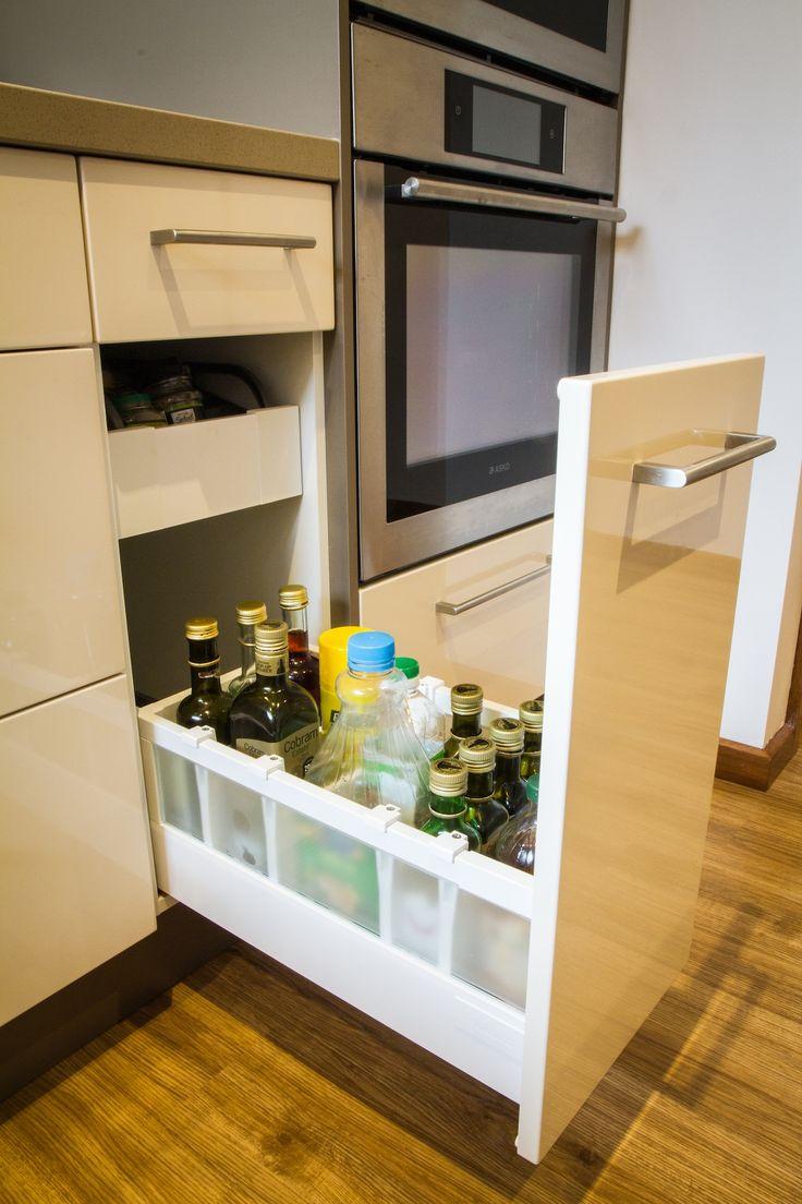 Oil drawer. Oil storage. Hidden drawer. www.thekitchendesigncentre.com.au