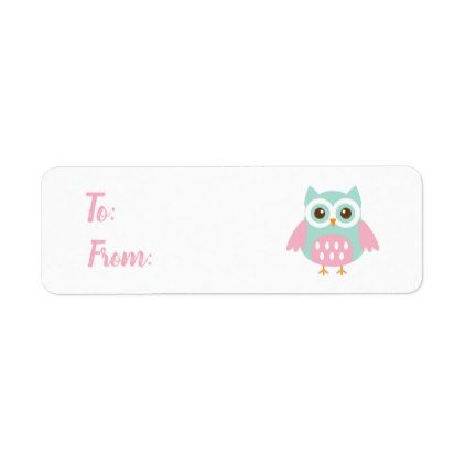 Owl background with cute Owl Label - return address labels label diy personalize cyo unique design custom