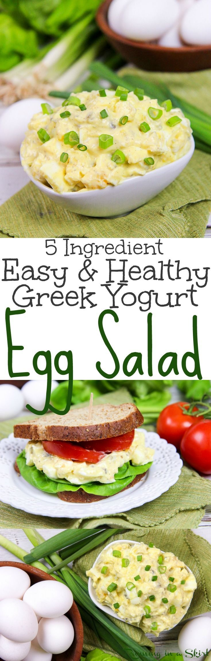 5 Ingredient Healthy (No Mayo!) Greek Yogurt Egg Salad recipe - An easy and simple vegetarian meal idea. Great for a sandwich, lunches, dinners and fun meals. Uses hard boiled eggs!  Low carb, vegetarian, gluten free and clean eating / Running in a Skirt