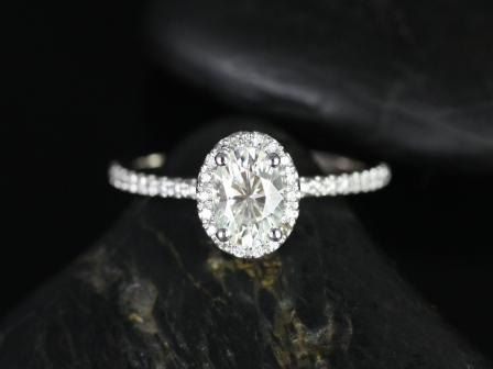 Ultra Petite Federella 14kt White Gold Thin Oval FB Moissanite Halo Engagement Ring---loving the oval. so different!