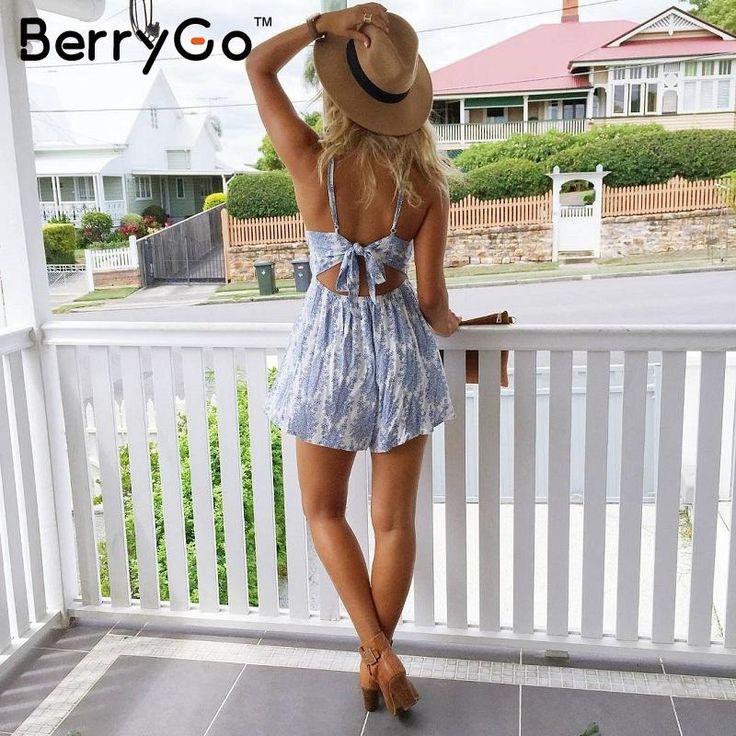 BerryGo 2016 Новый ремень спинки синий цветочный печати комбинезон ползунки Повседневная лето стиль комбинезон Женщин сексуальное лук пляжные комбинезоны купить на AliExpress