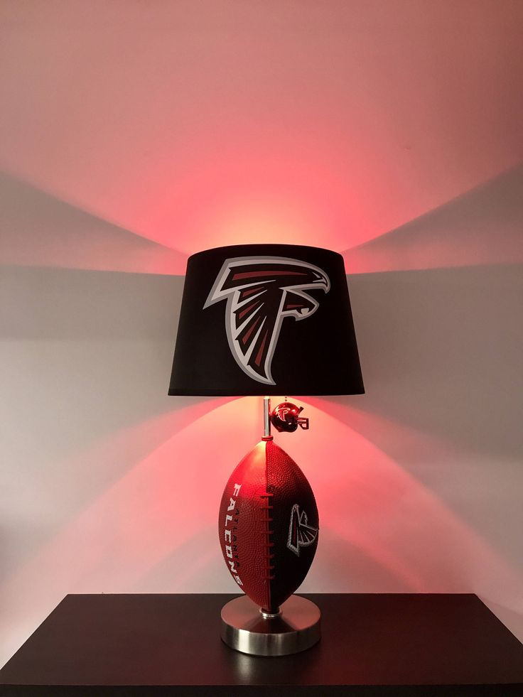 Atlanta Falcons Lamp, NFL Lamps, Kids night light, Falcons decor, gifts for men, table lamps, NFL, Falcons, lamps, Father's Day, falcons light, football decor, Matt Ryan, Julio jones, Super Bowl 51, Atlanta Falcons, by CaliradoArt on Etsy https://www.etsy.com/listing/529308527/atlanta-falcons-lamp-nfl-lamps-kids