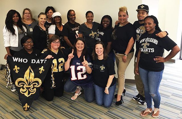 It's @saints vs @patriots today, and everyone's repping the #BlackandGold! Well…