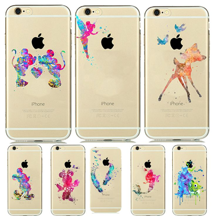 Interesting Special Watercolor Soft Silicone Case For capinhas iphone 7 pus 6 6s plus 5 5s SE Clear Case Tinker bell Cinderella