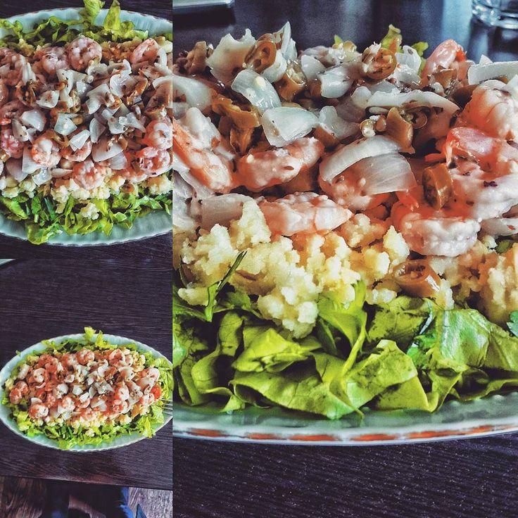 Kim demiş diyet yaparken koca bir tabak yemek yiyemezsin  230grm karides 150 gram haşlanmış patates ve  Bol yeşillik Toplamda 50 gram civari protein 30 gram civarı karbonhidrat  #lunch#shrimp#karides#sote#salad#vegetables#yesillik#diyet#protein#healthymeal#eatclean#traindirty#ogleyemegi#gymaholic#delicious#bodybuilding#muscle#highprotein#lowcarb#fatburn#diet by _gymaholic_fitnessfreak_
