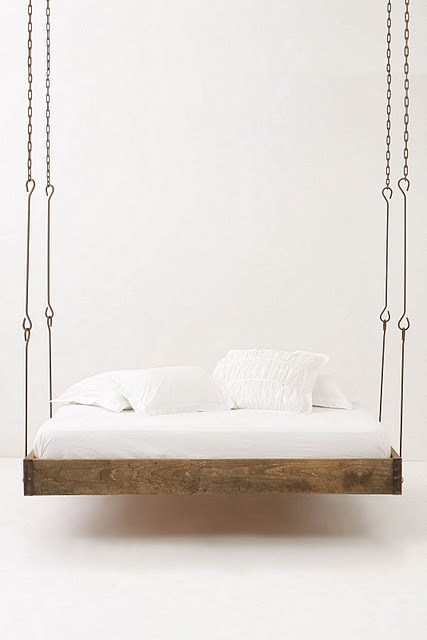 Barnwood hanging bed from Anthropologie.