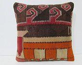 decorative pillow 16x16 orange throw pillow orange kilim pillow orange decorative pillow orange pillow cover orange pillow case orange 25580