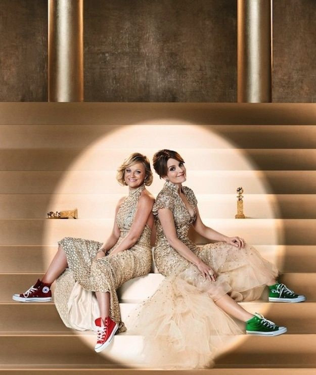 Amy Poehler And Tina Fey Pair Converse Sneakers With Their Fancy Gowns (promo image for the 2013 Golden Globes)