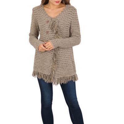 Izabel London Brown frayed edge knitted cardigan | Debenhams