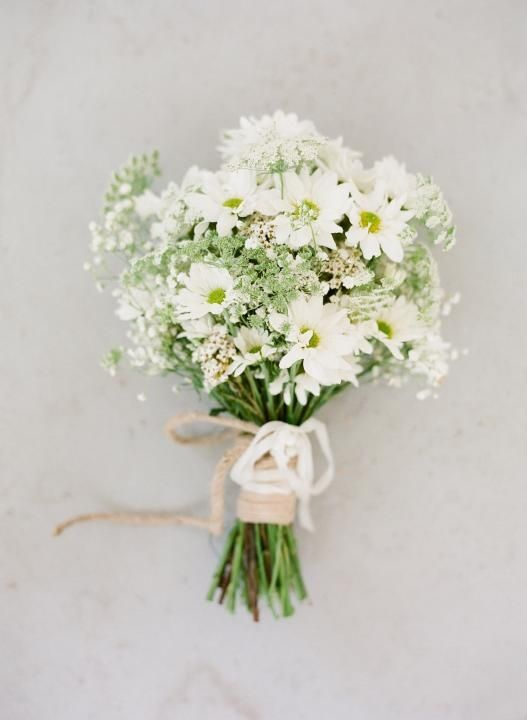 White daisies and baby's breath bouquet, second best!
