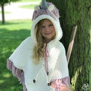 Hooded Unicorn Poncho & Socks pattern by MJ's Off The Hook Designs