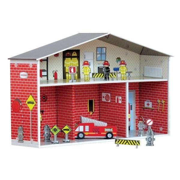 estación de bomberos de cartón Dylan en El País de los Juguetes