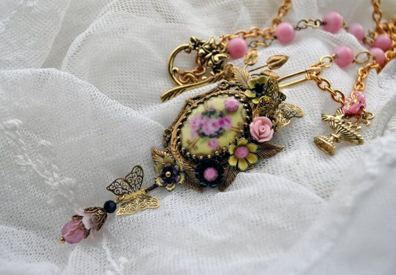 Celebrate Spring  long pastel flower necklace with by MoodsWingz, $120.00
