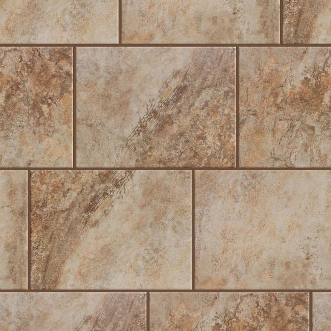 Style Selections Mesa Beige 9 In X 12 In Glazed Porcelain Stone Look Floor And Wall Tile Lowes Com Porcelain Flooring Beige Tile Wall And Floor Tiles