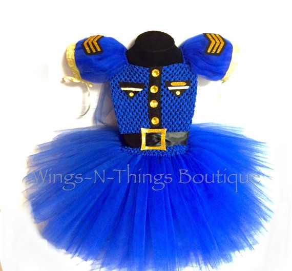 Check out POLICE OFFICER COSTUME Cop Tutu Dress Set w/ Black Ribbon Sash w/ Gold Belt Buckle, Toddler, Halloween, Blue, Girls, Navy, Marines on wingsnthings13