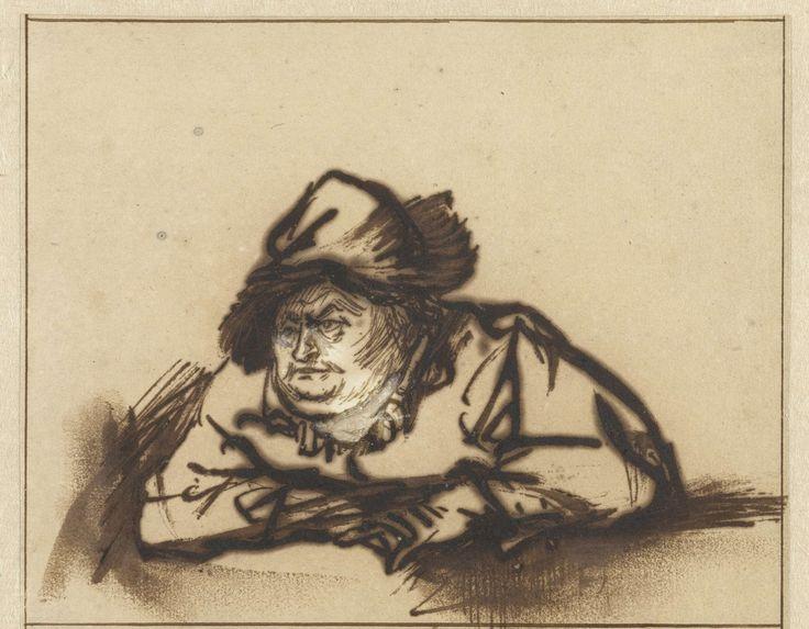 Portret van de acteur Willem Bartholsz. Ruyter, Rembrandt Harmensz. van Rijn, 1616 - 1669