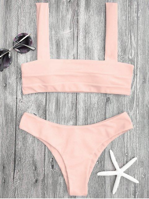 Bandeau Padded Bikini Top and Bottoms - SHALLOW PINK S