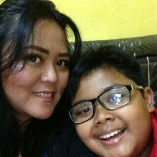 With my son..