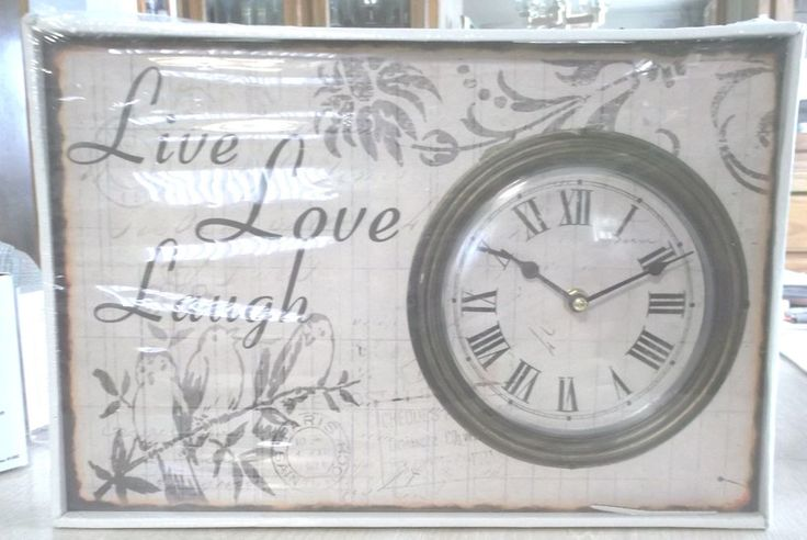 "Live Love Laugh Wall Clock Wood Roman Numerals 10"" x 15"" New #Kmart #FrenchCountry"