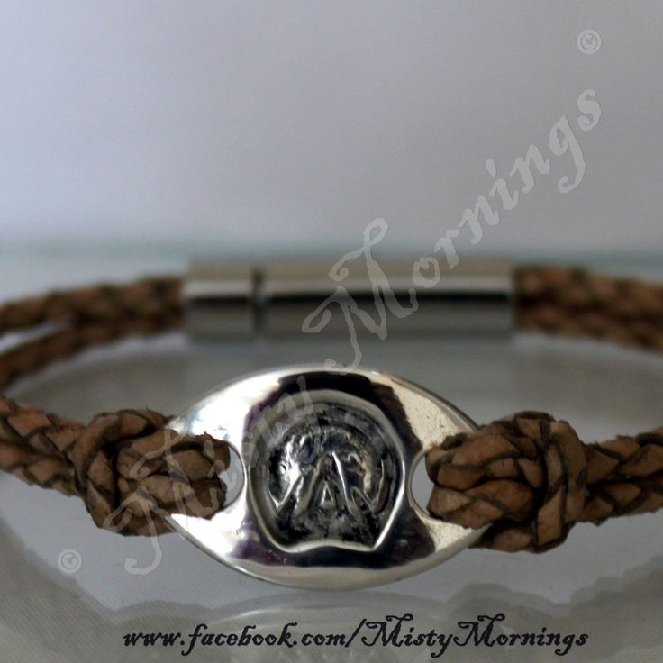 silver and leather barefoot hoof print bracelet www.facebook.com/MistyMornings #Equestrian #Barefoot #Horse #Pony