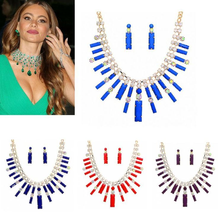 Statement Jewelry New Crystal Bib Hot Chunky Chain Necklace and Earrings Set  #Statement