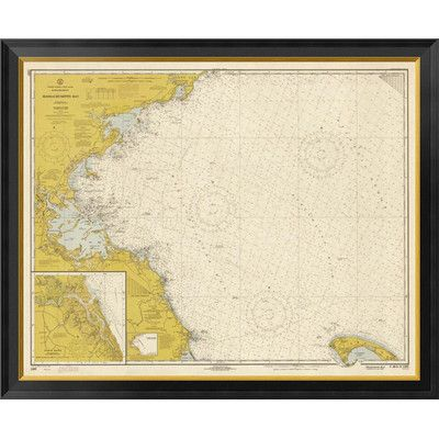 """Global Gallery Nautical Chart - Massachusetts Bay ca. 1970 - Sepia Tinted Framed Graphic Art on Canvas Size: 22"""" H x 26"""" W x 1.5"""" D"""