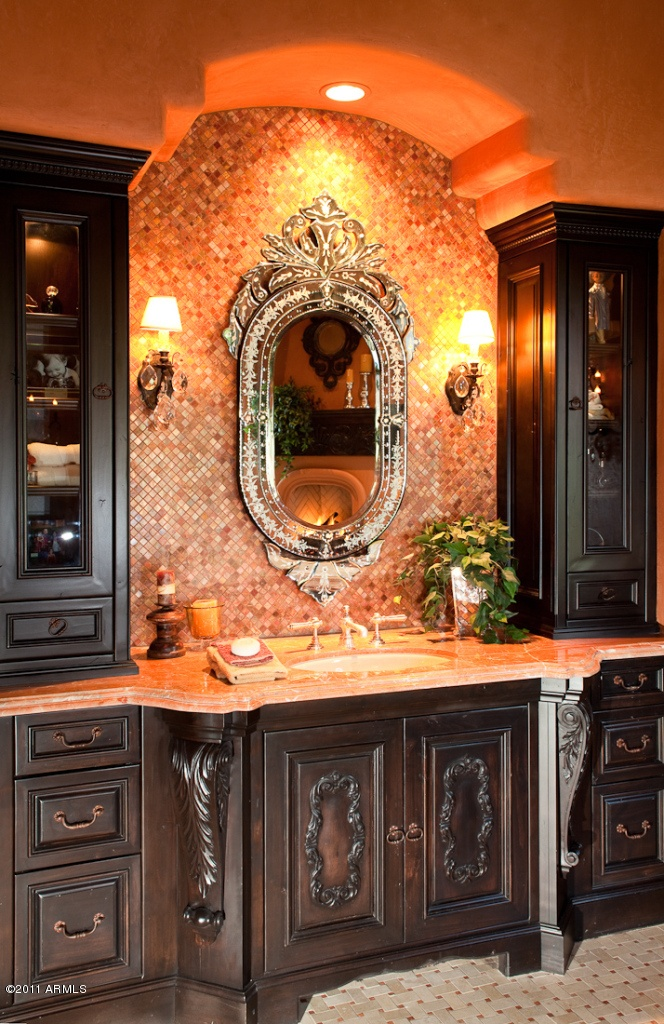 mirror and lighting ideas for tuscan bathroom