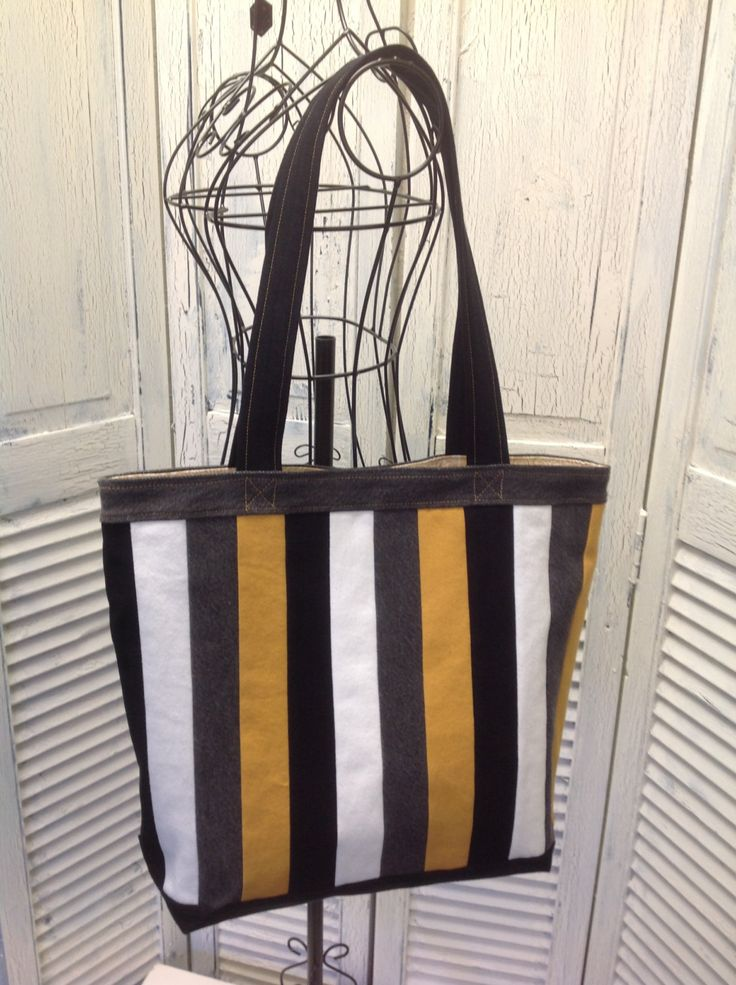 Bleu Redux Upcycle Multi-Color Striped Denim Tote (FB18) by GrandmaRietas on Etsy