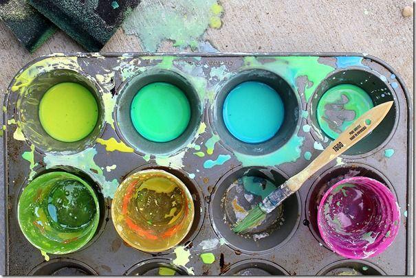 Homemade sidewalk paint from YesIWantCake!