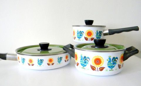 Colorful Vintage Enamelware Cookware Pots and Pans Set with Lids, Roosters and Flowers in Blue, Green, Yellow and Orange, Swedish Modern