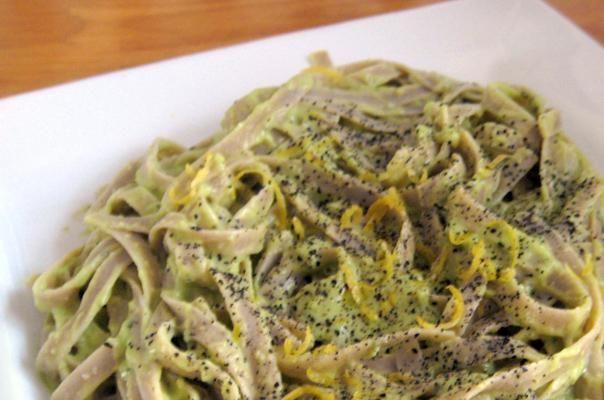 Avocado, basil, and lemon to make a creamy pasta sauce instead of Alfredo.