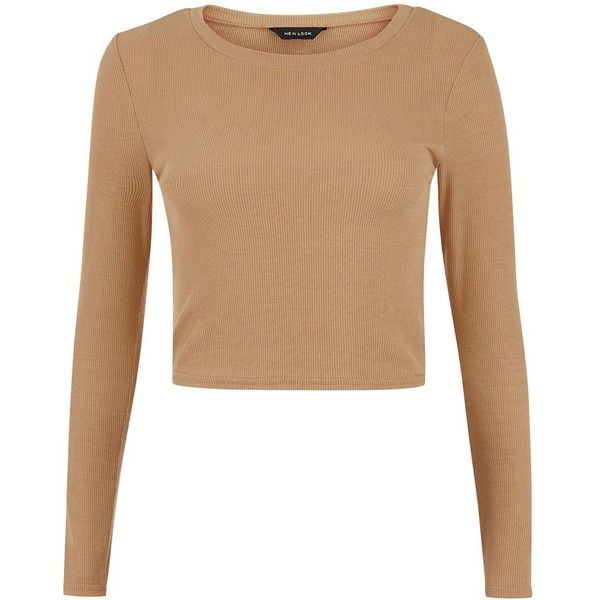 Camel Ribbed Long Sleeve Crop Top (405 RUB) ❤ liked on Polyvore