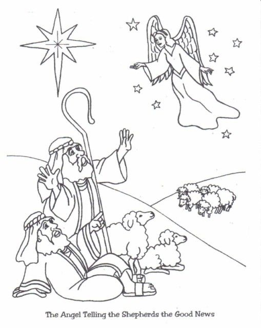 Christmas Angel Coloring Pages | sdrasia.org: Angels tell shepherds the Good News - Peace on Earth ...