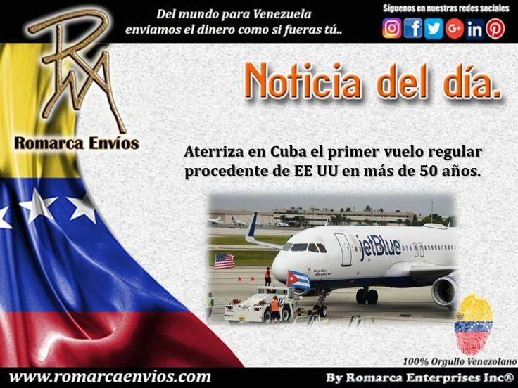 El primer vuelo regular entre Estados Unidos y Cuba en más de medio siglo ha aterrizado este miércoles en el aeropuerto de Santa Clara, en el centro de la isla. Con 150 pasajeros a bordo, entre ellos el secretario de Transporte estadounidense, Anthony Foxx, el A320 de la aerolínea estadounidense JetBlue aterrizó a las 10.57 hora local (14.57 GMT) en Santa Clara. http://m.hoy.es/internacional/201608/31/parte-hacia-cuba-primer-20160831161254-rc.html (Foto: AFP)