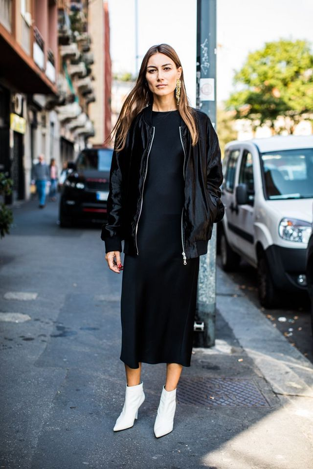 White ankle boots - street style inspiration