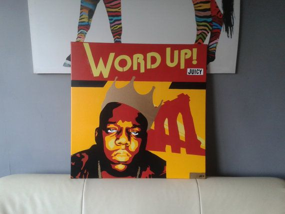 Biggie Smalls notorious b.i.g stencil art canvas painting hip