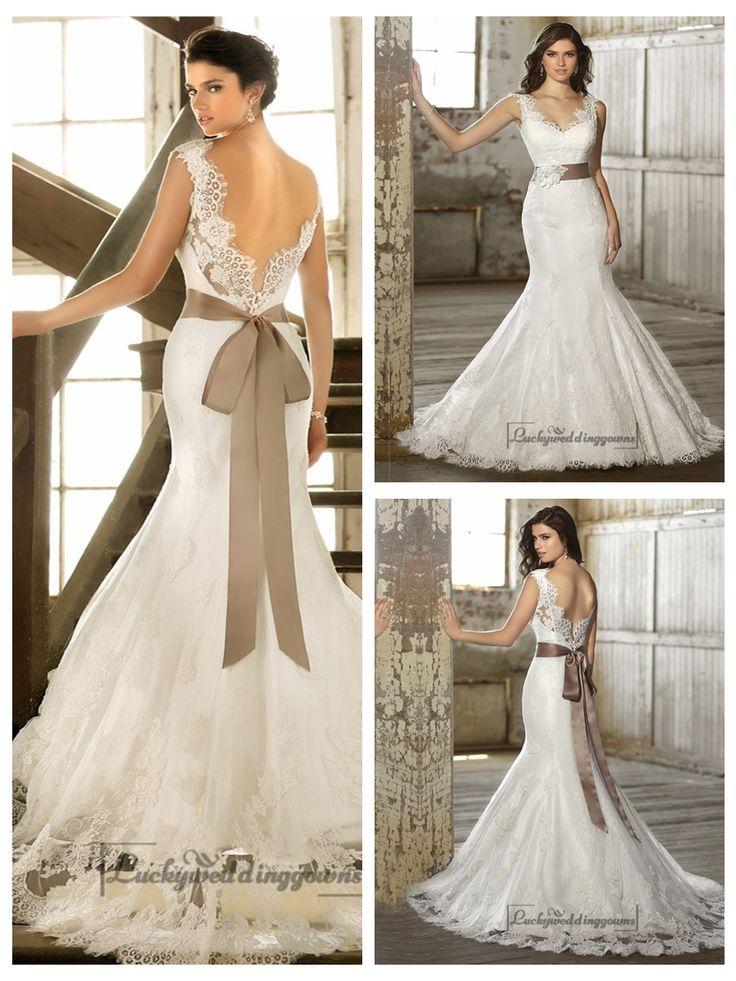 Straps v neck trumpet lace wedding dresses with deep v for Deep back wedding dress